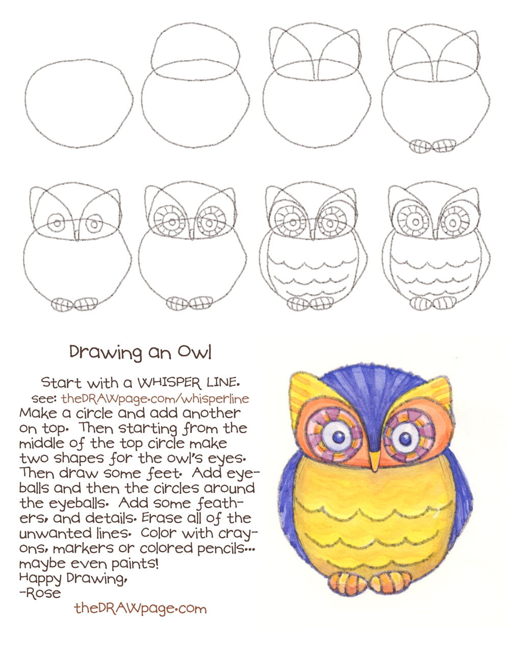 how to draw an owl flying step by step